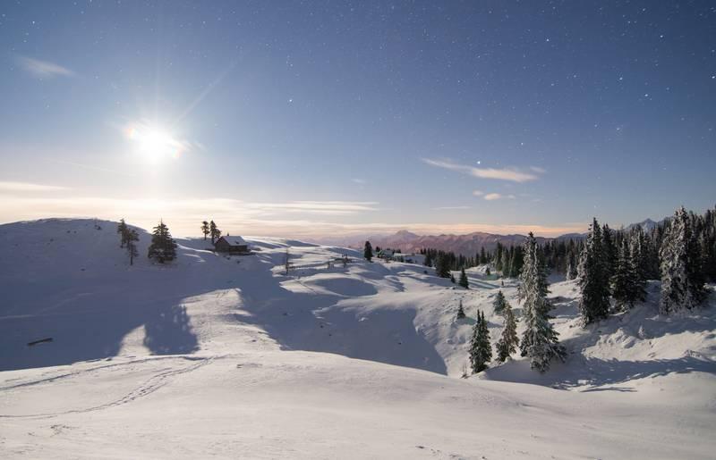 Winterlandschaft im Naturpark Dobratsch in der Region Villach