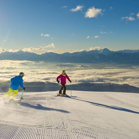 Skifahren auf der Gerlitzen Alpe bis nach Klösterle in Arriach.